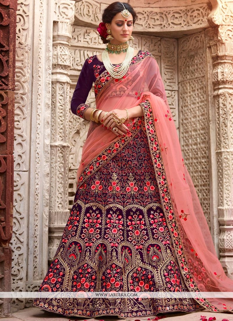 Resham Work Navy Blue Velvet Lehenga Choli