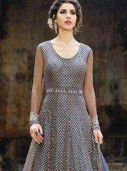 Resham Work Net Floor Length Anarkali Suit