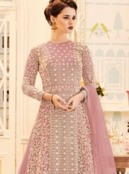 Resham Work Net Floor Length Anarkali Suit