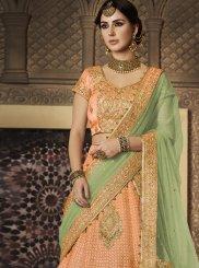 Resham Work Peach Fancy Fabric Lehenga Choli
