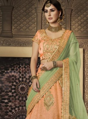 Resham Work Peach Fancy Fabric Lehenga Choli