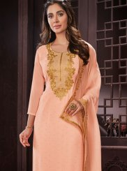 Resham Work Peach Faux Georgette Churidar Designer Suit