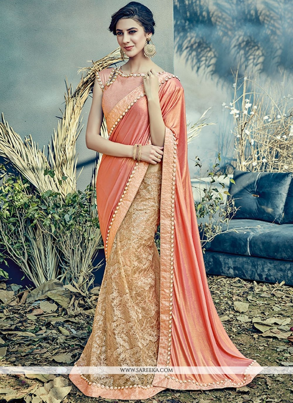 Resham Work Peach Lycra Lehenga Saree