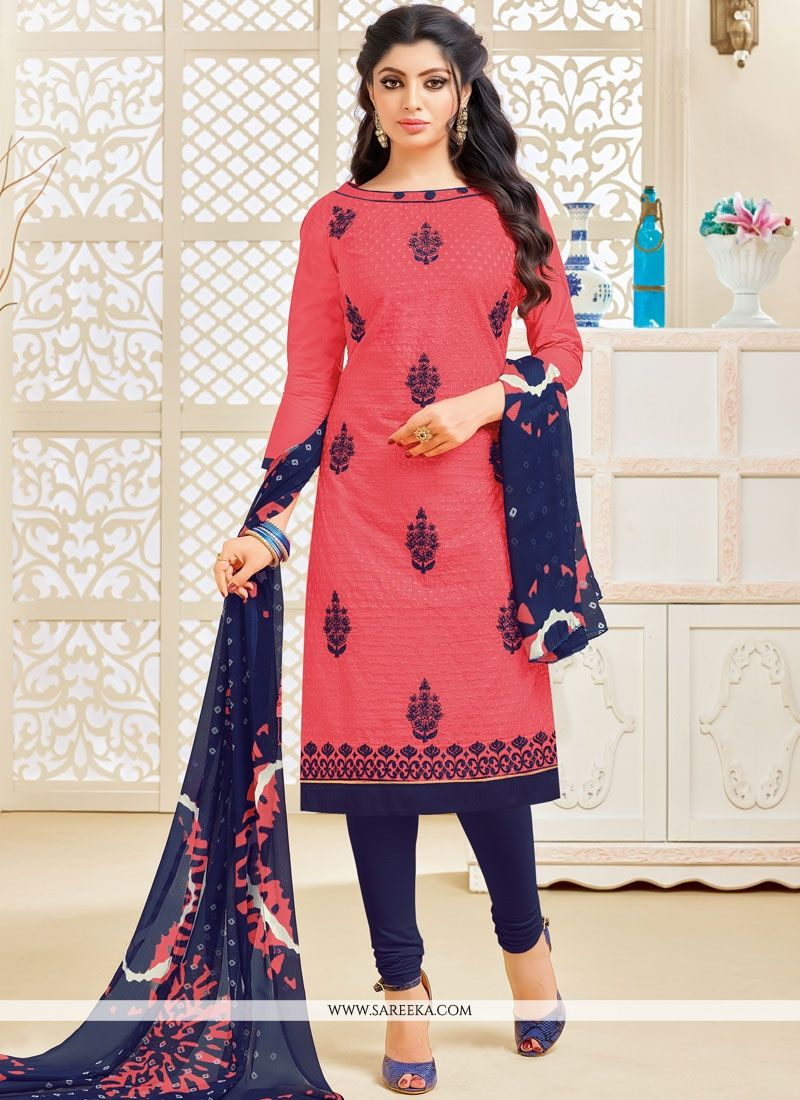 Resham Work Pink Cotton   Salwar Kameez