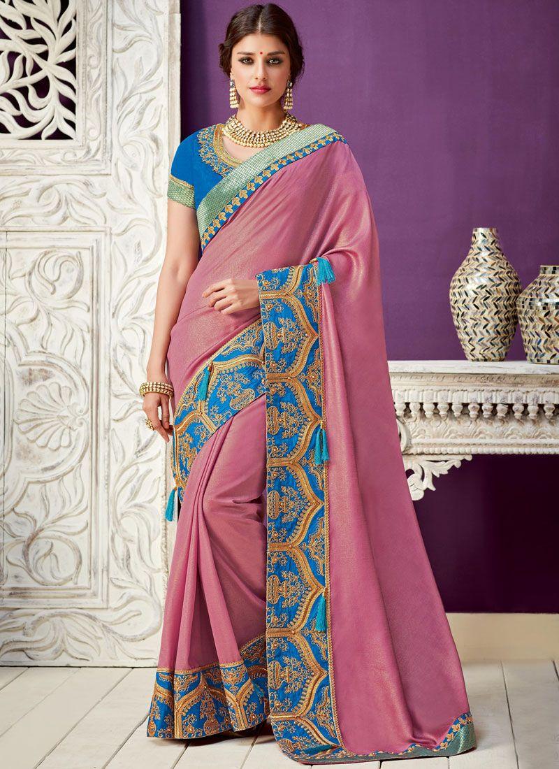 Resham Work Pink Georgette Designer Saree
