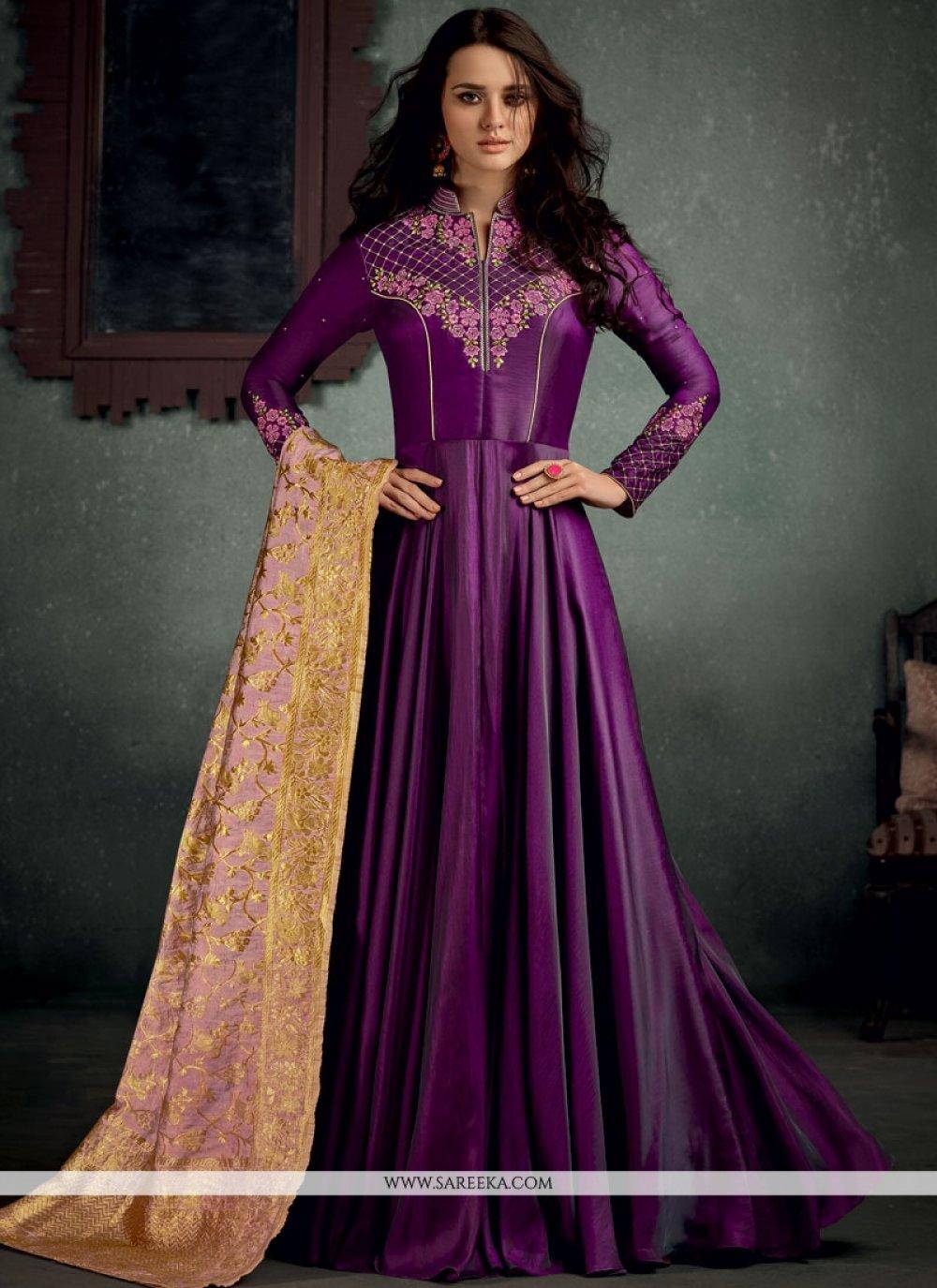 Resham Work Purple Floor Length Anarkali Suit