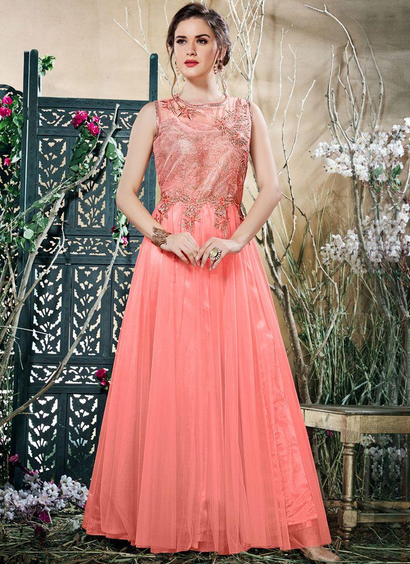 Resham Work Readymade Gown