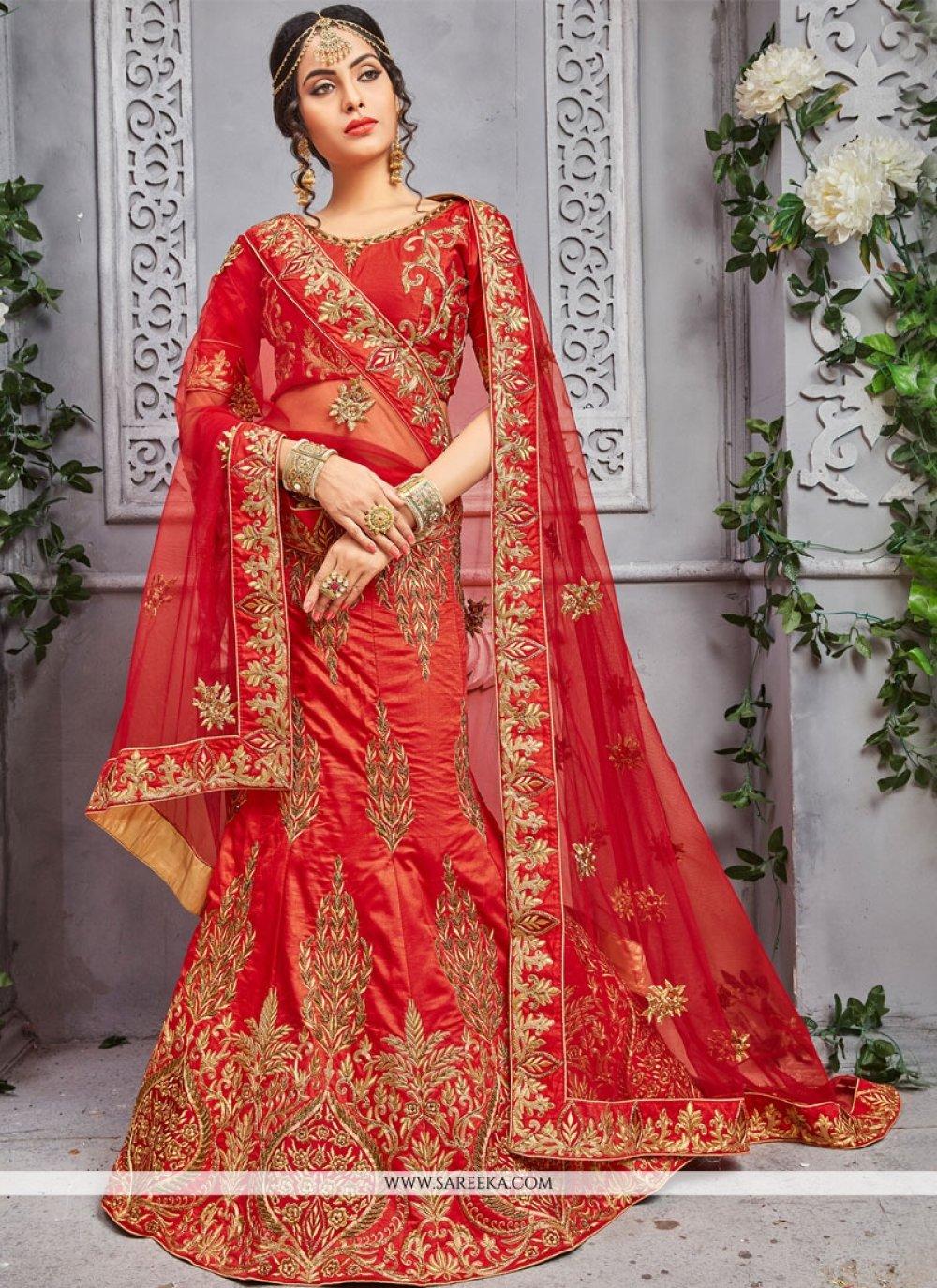 Resham Work Red Art Silk Lehenga Choli