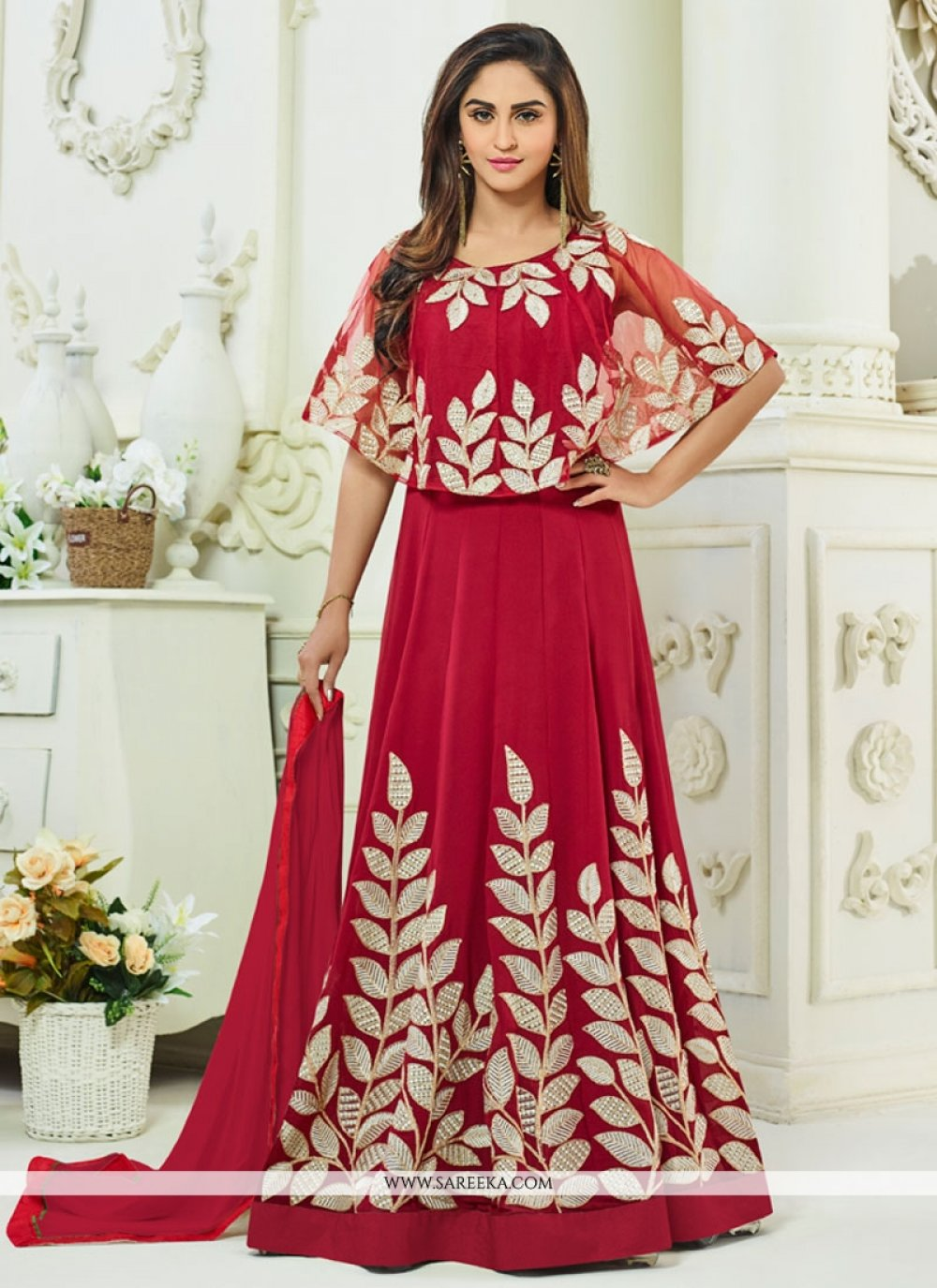 Resham Work Red Faux Georgette Floor Length Anarkali Suit