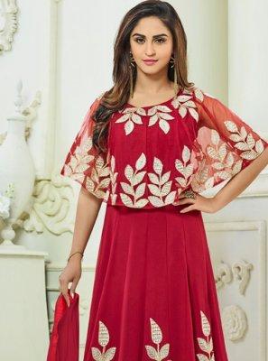 Resham Work Red Faux Georgette Floor Length Anarkali Suit