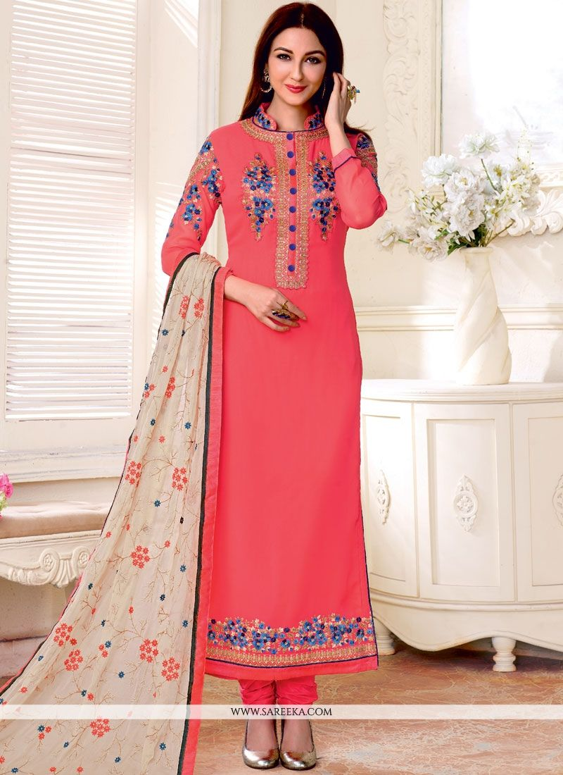 Resham Work Rose Pink Faux Georgette Designer Straight Suit