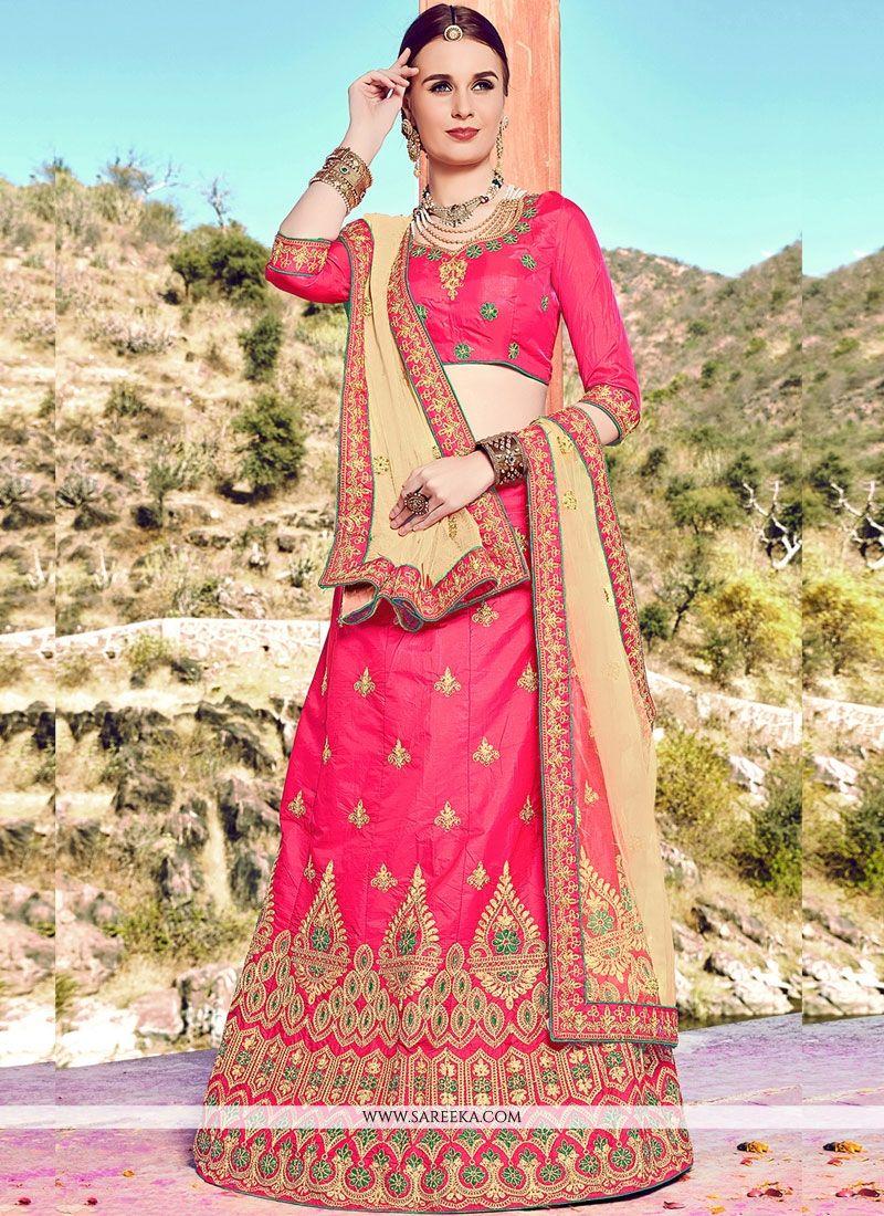 Resham Work Rose Pink Lehenga Choli
