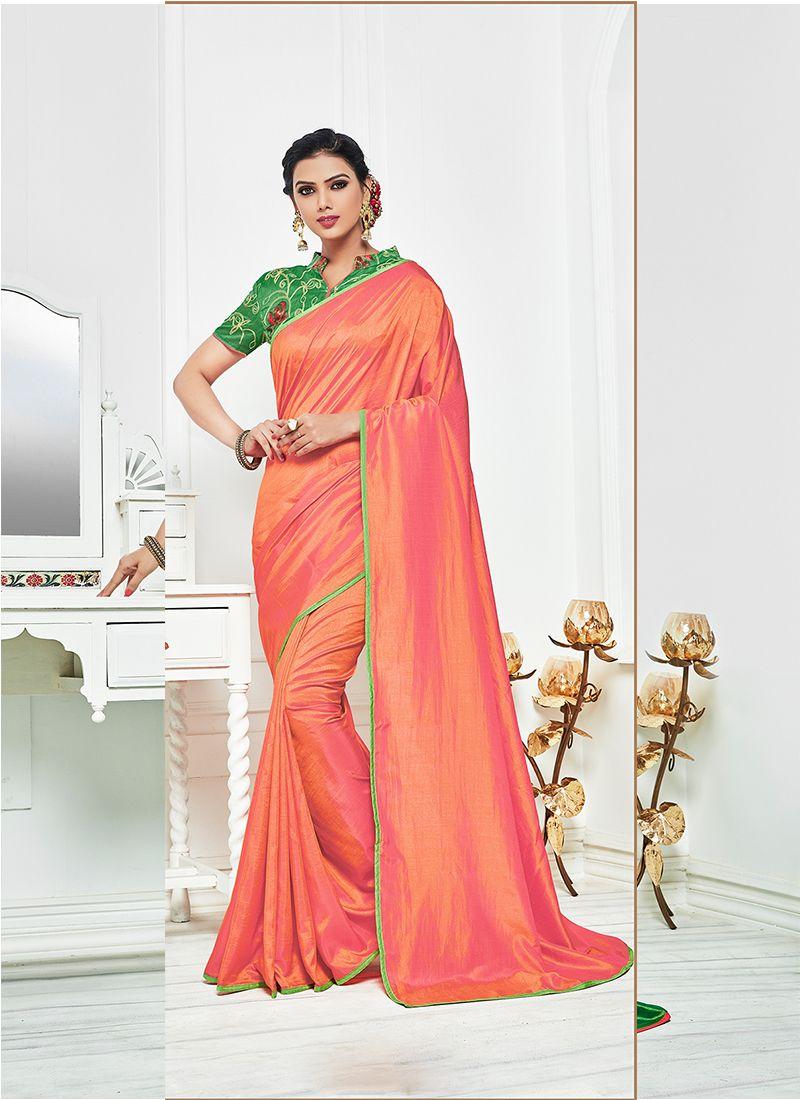 Resham Work Satin Silk Bollywood Saree