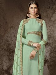 Resham Work Sea Green Faux Georgette Designer Pakistani Suit