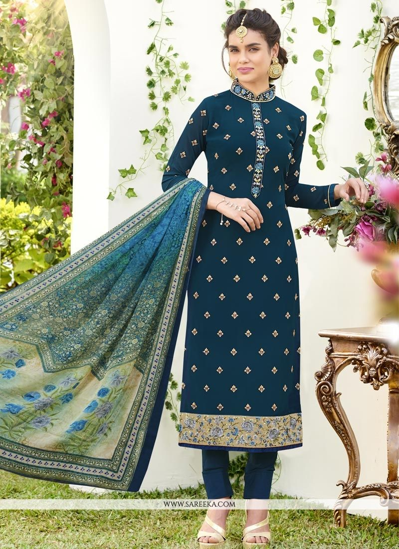 Resham Work Teal Faux Georgette Churidar Designer Suit