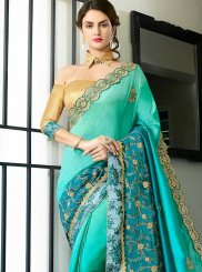 Resham Work Turquoise Art Silk Shaded Saree