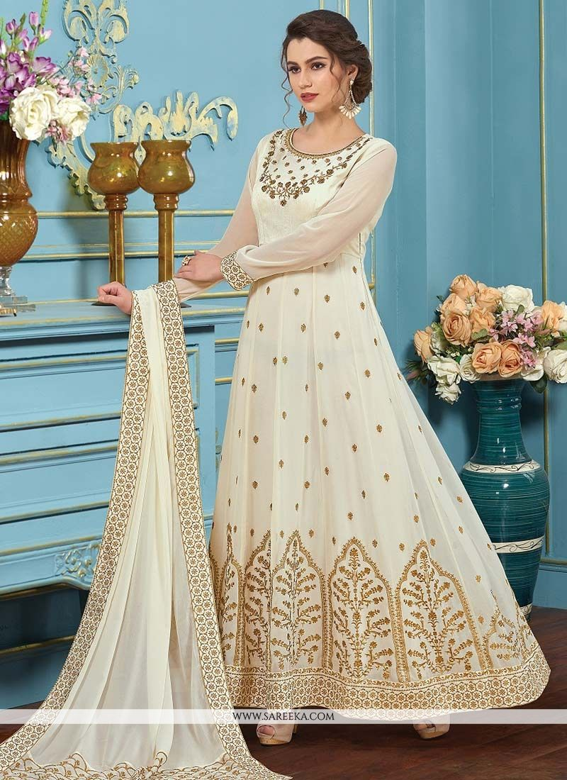 Resham Work White Faux Georgette Floor Length Anarkali Suit