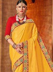 Resham Work Yellow Traditional Designer Saree