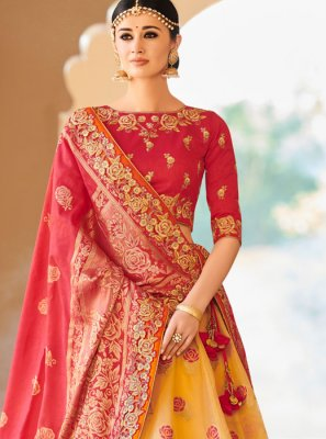 Rose Pink and Yellow Resham Art Silk Lehenga Choli