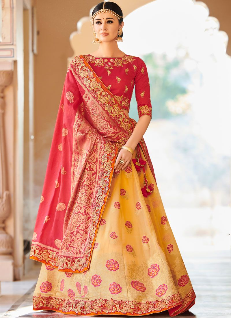 Rose Pink and Yellow Resham Art Silk Lehenga Choli