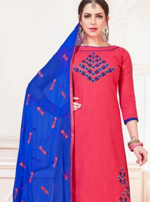 Rose Pink Cotton   Casual Churidar Suit