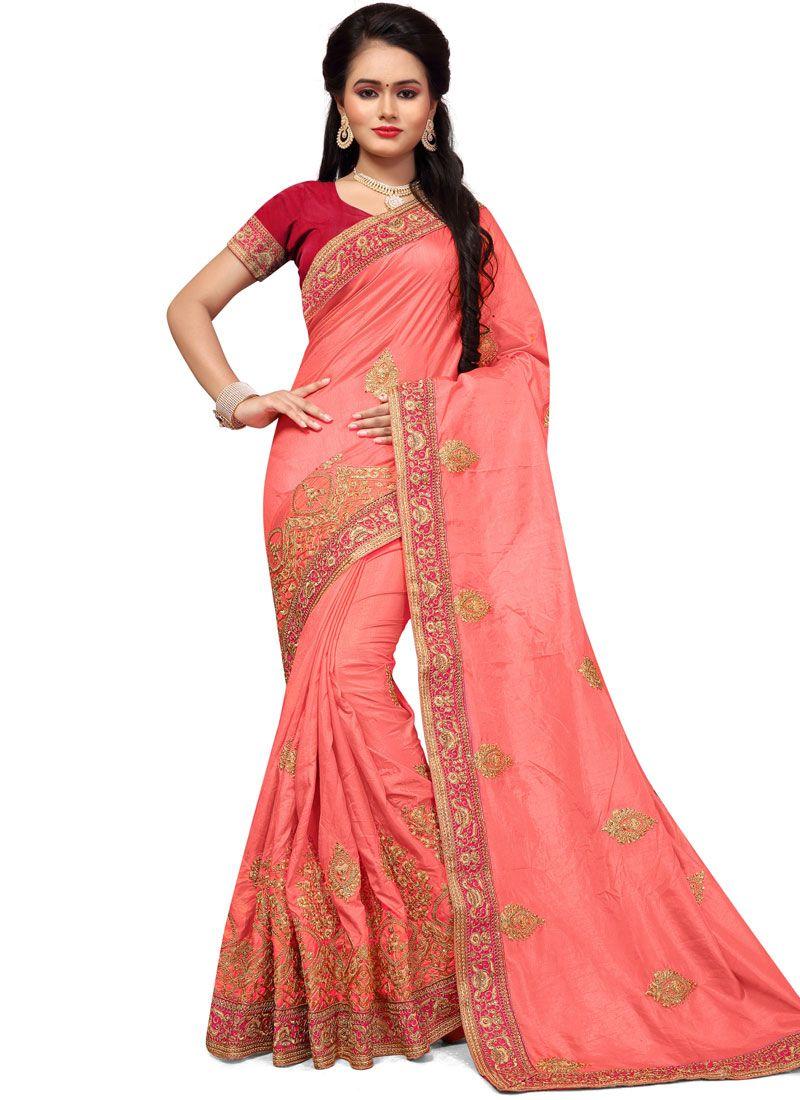 Rose Pink Embroidered Work Art Silk Designer Traditional Saree