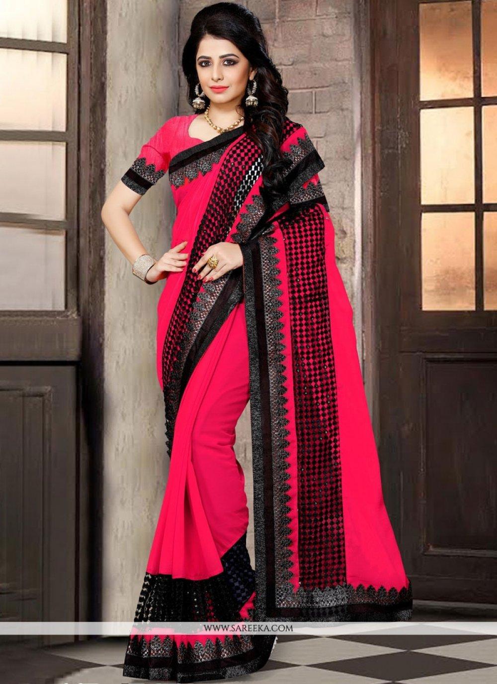 Rose Pink Lace Work Classic Designer Saree