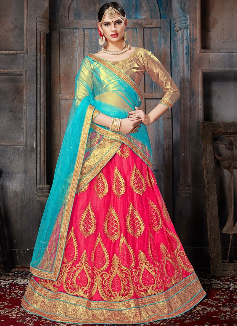 Rose Pink Lace Work Lehenga Choli