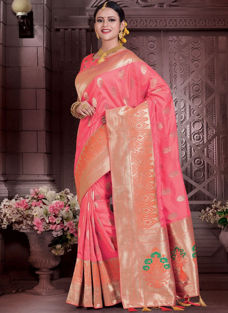Rose Pink Resham Work Art Silk Designer Traditional Saree