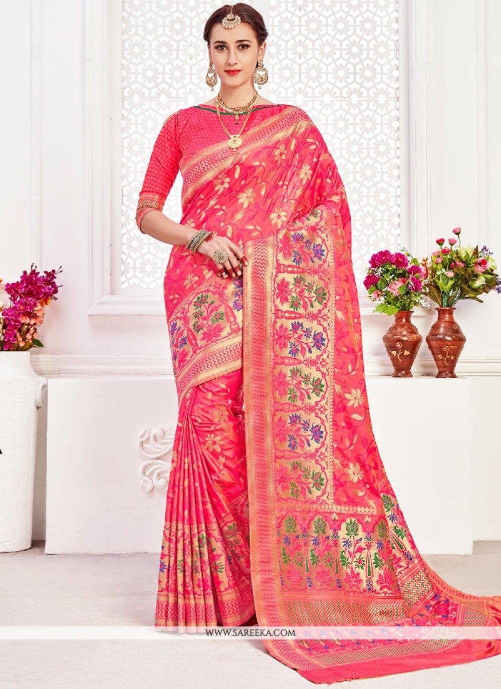 Rose Pink Weaving Work Art Silk Traditional Designer Saree