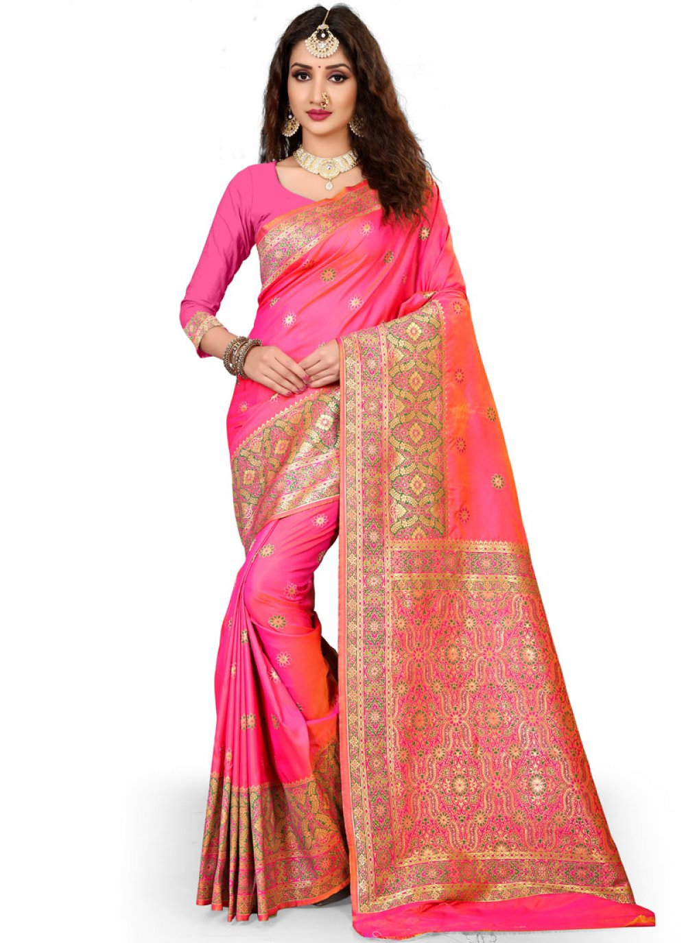 Rose Pink Weaving Work Art Silk Traditional Designer Saree