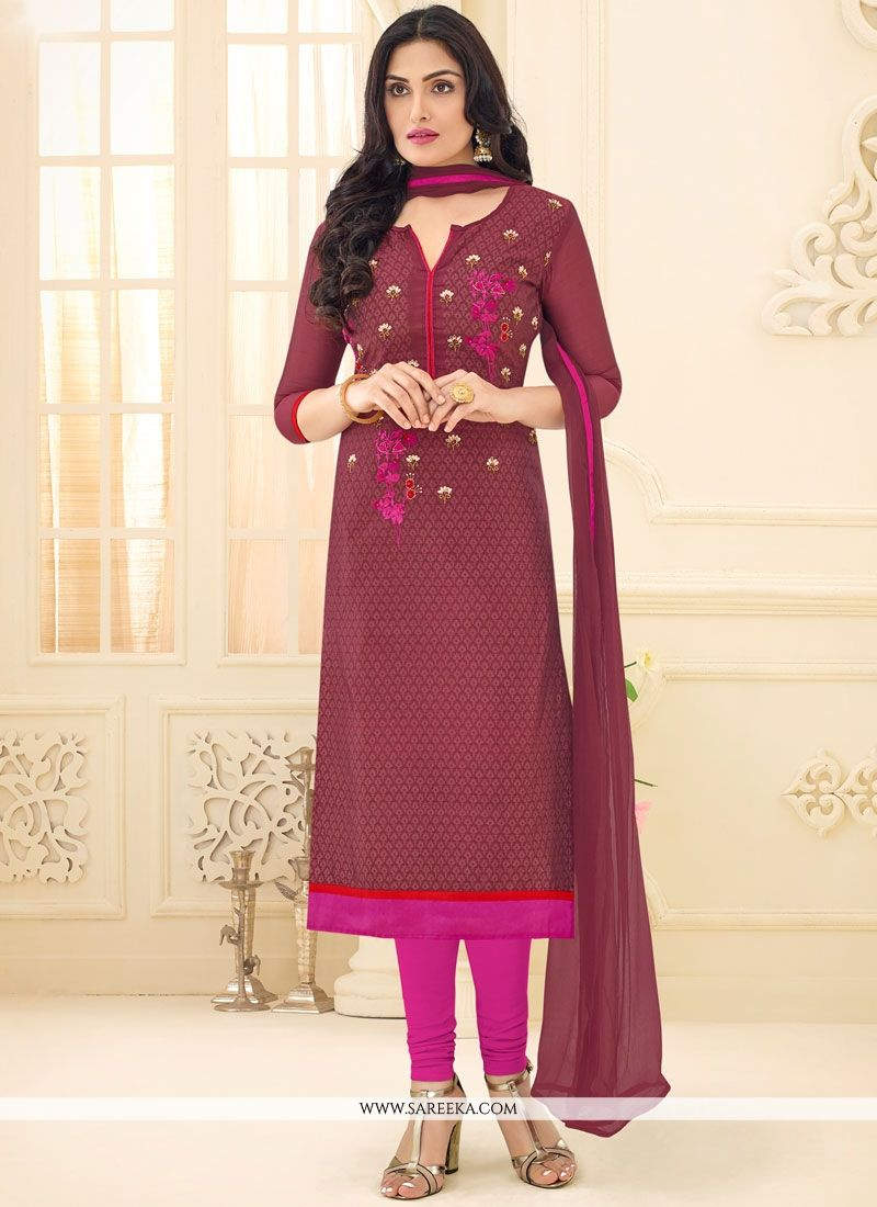 Rust Chanderi Churidar Suit