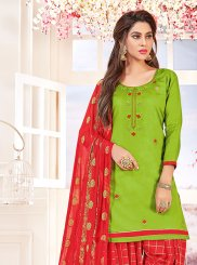 Salwar Suit Embroidered Cotton   in Green