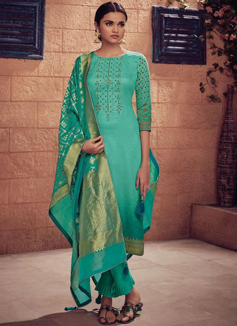 Salwar Suit Embroidered Cotton   in Sea Green