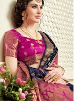 Saree Abstract Print Tussar Silk in Navy Blue