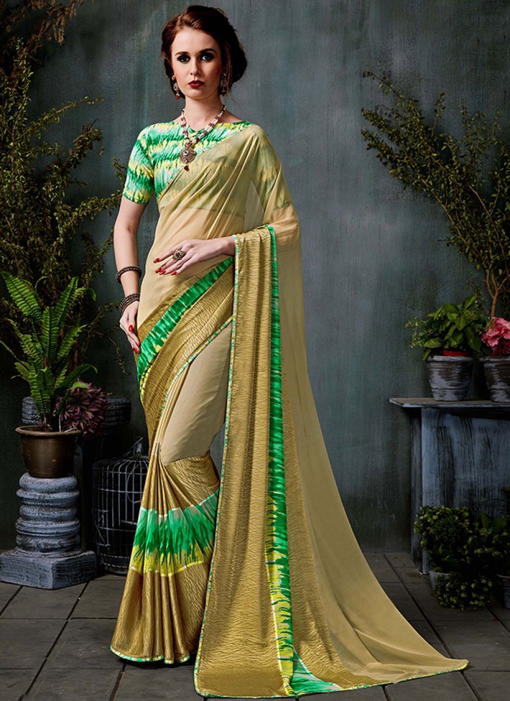 Saree Lace Georgette in Beige and Green