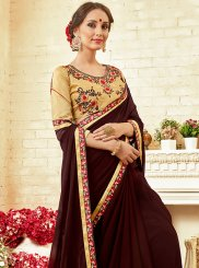 Saree Thread Work Georgette in Brown