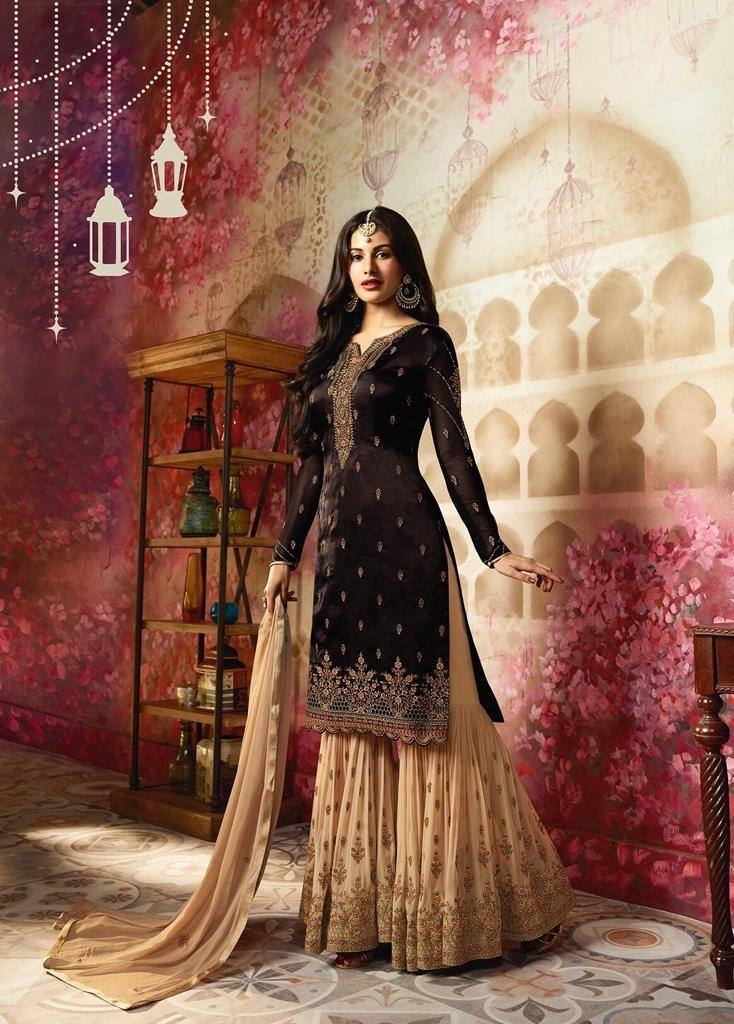 Satin Black Designer Pakistani Suit