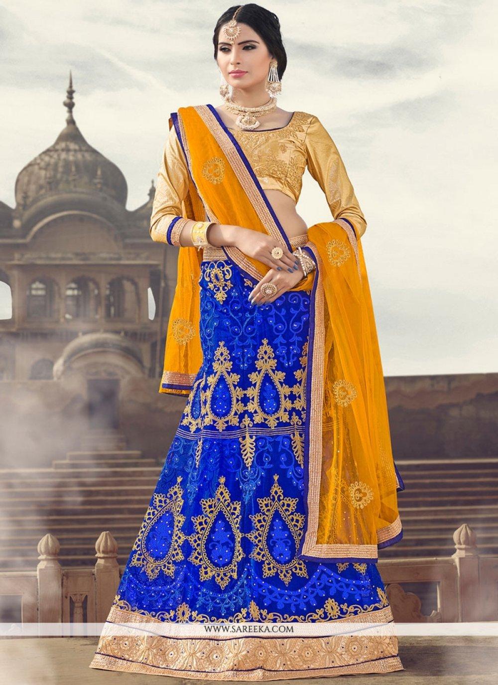 Satin Blue Zari Work Lehenga Choli