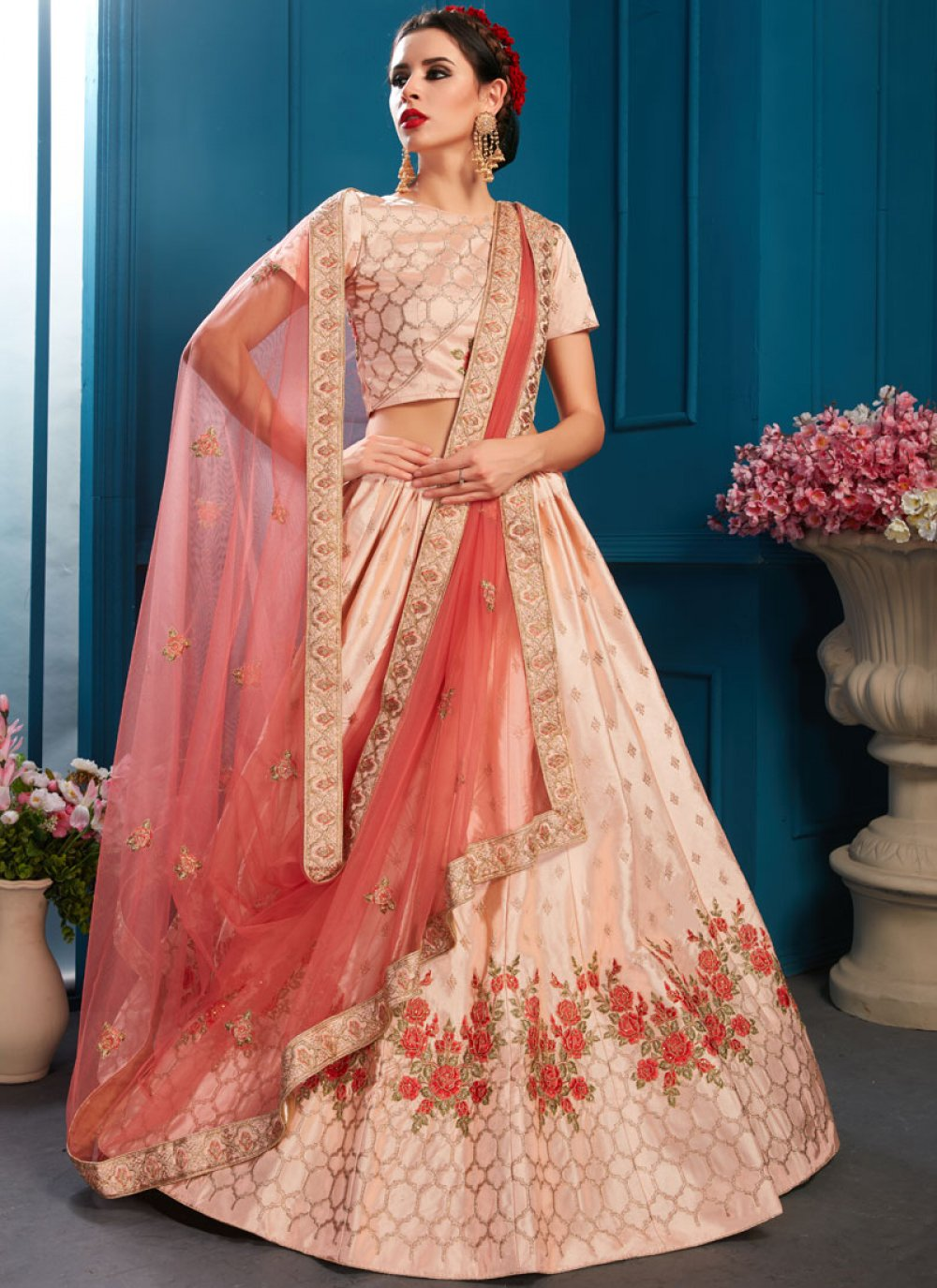 Satin Bridal Lehenga Choli