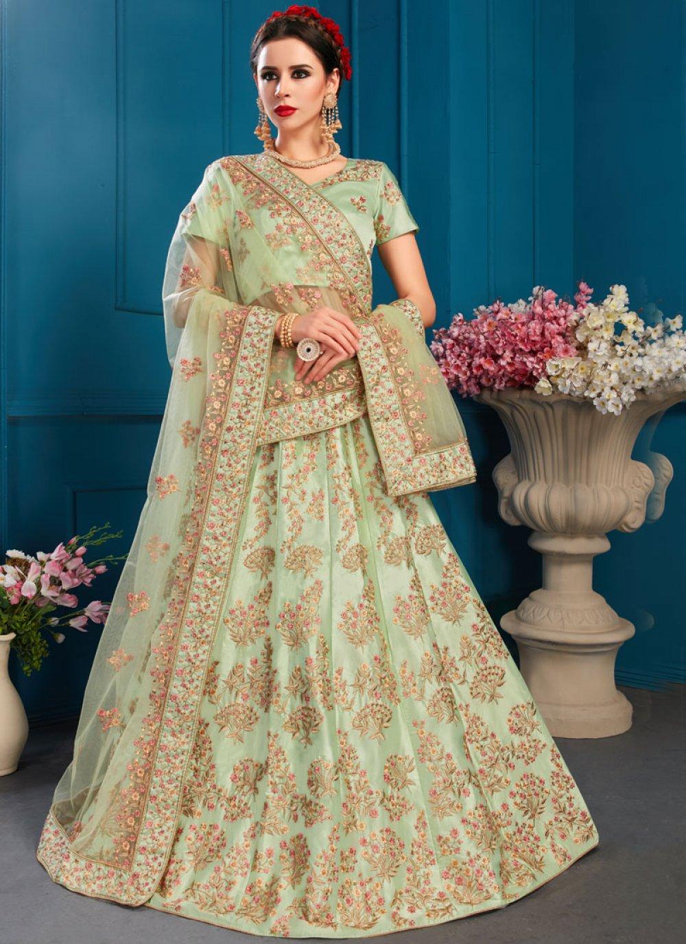 Satin Bridal Lehenga Choli