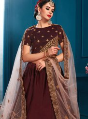 Satin Brown Lace Lehenga Choli