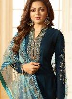 Satin Churidar Designer Suit in Navy Blue