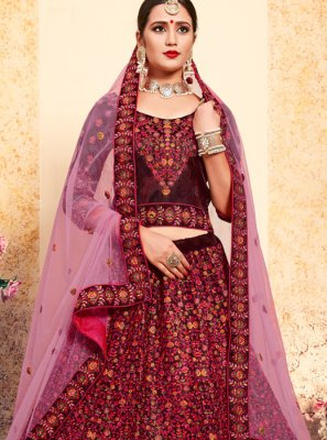 Satin Designer Lehenga Choli in Maroon