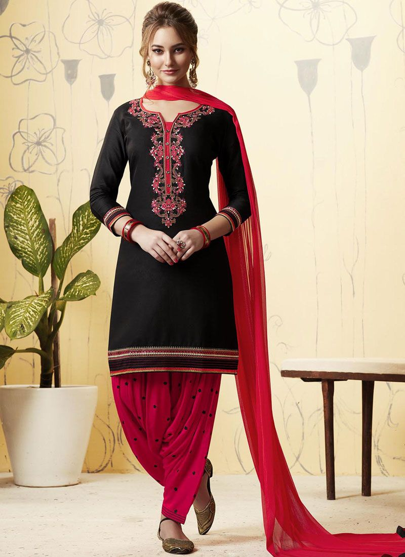 Satin Embroidered Black and Hot Pink Patiala Salwar Kameez