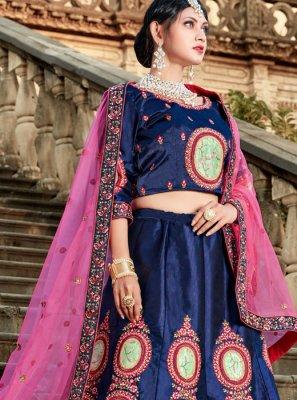 Satin Embroidered Blue Lehenga Choli