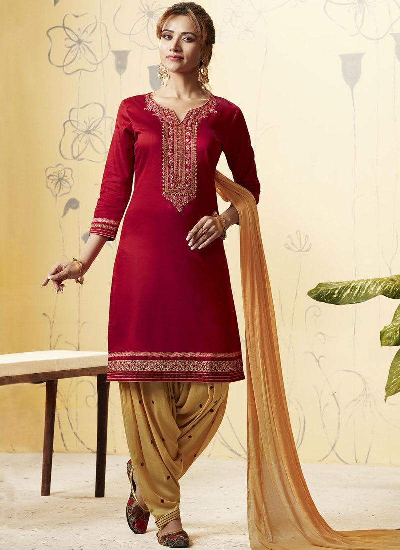 Satin Embroidered Cream and Maroon Patiala Salwar Suit