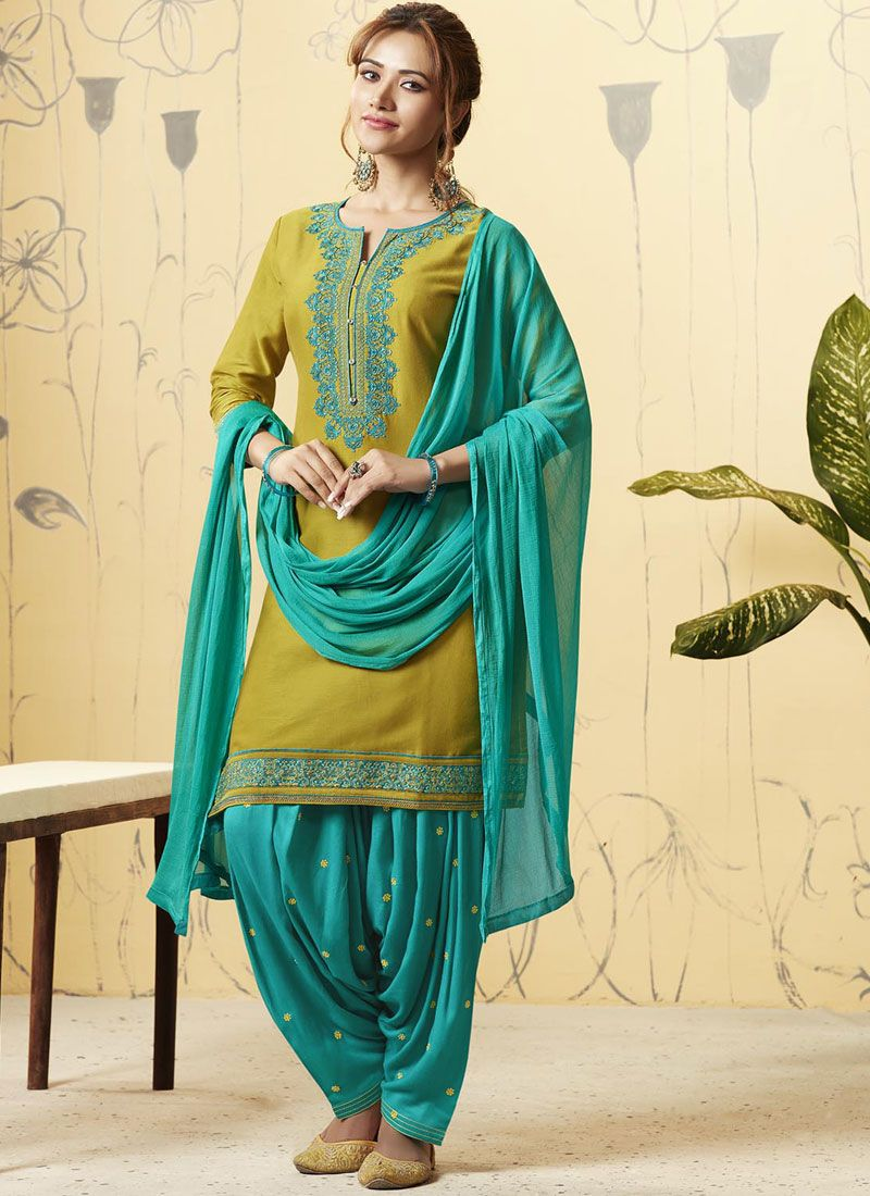 Satin Embroidered Designer Patiala Suit in Blue and Green