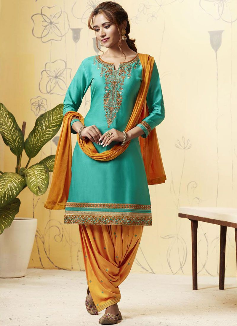 Satin Embroidered Patiala Suit in Orange and Turquoise