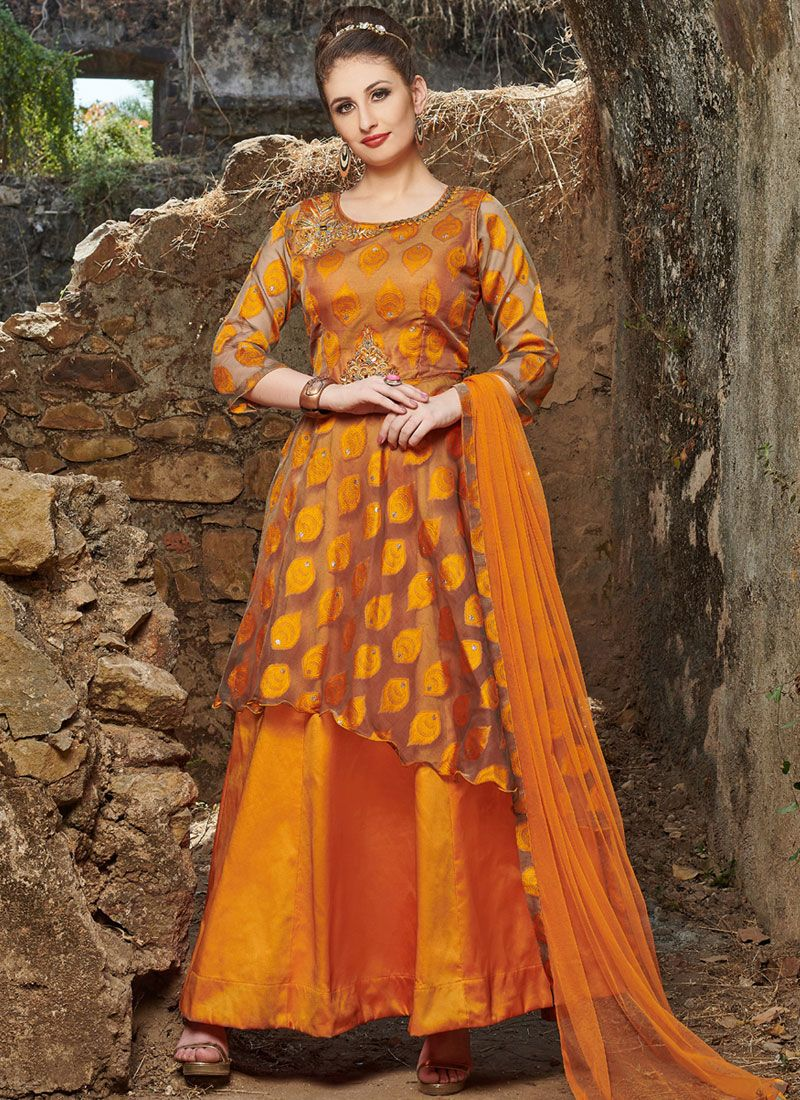 Satin Embroidered Readymade Anarkali Suit